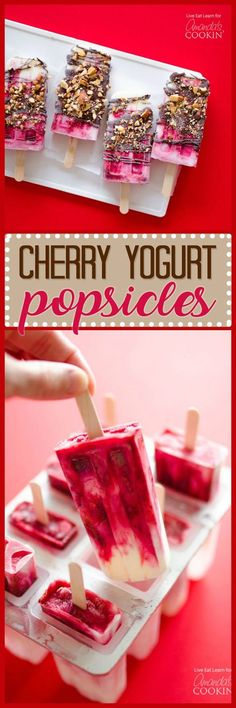 These Cherry Yogurt Popsicles are an easy & healthy treat that will certainly cool you off this summer. Topped off with chocolate, how could you go wrong?