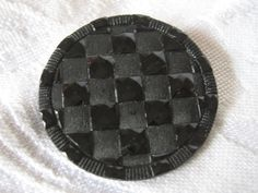 Large ANTIQUE Checkerboard Matte & Shiny Black Glass by abandc
