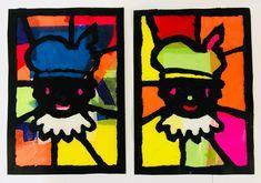 Sint en Piet glas in lood Saint Nicolas, Batman, Superhero, Prints, Fictional Characters, School, Carnival, Lockers, Fantasy Characters
