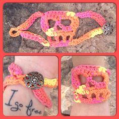 Crocheted skull bracelet