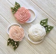 Felt rose headband blush pink headband first communion headband spring floral headband pale pink rose headband white rose headband Felt Roses, Felt Flowers, Fabric Flowers, Felt Headband, Rose Headband, Stretchy Headbands, Floral Headbands, Diy Bow, Diy Hair Accessories
