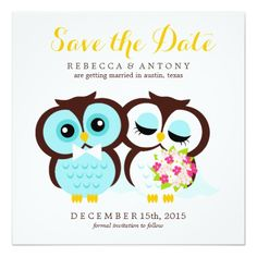 """Bride and Groom Owls Wedding Save the Date 5.25"""" Square Invitation Card"""