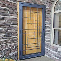 Tetris Exclusive Security Screen Door - First Impression Ironworks Door Grill, Window Grill Design, Security Screen, Security Doors, Window Bars, Door Gate Design, Iron Doors, Entrance Doors, Windows And Doors