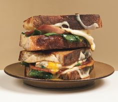 The Best Egg Recipes to Satisfy Every Breakfast Craving - Get the Grilled Cheese and Fried Egg Sandwiches recipe Grill Cheese Sandwich Recipes, Grilled Cheese Recipes, Egg Sandwiches, Grilled Sandwich, Grilled Cheeses, Grilled Ham, Panini Recipes, Bacon Sandwich, Breakfast Sandwiches