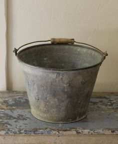 French Farmhouse Zinc Milk Bucket with Chalky Patina
