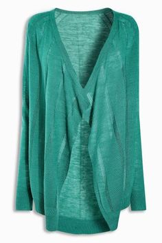 Turquoise Linen Mix Waterfall Cardigan