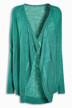 Turquoise Linen Mix Waterfall Cardigan