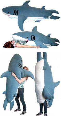 "Actually called the ""ChumBuddy"", it was created by 19 year old design wondergenius Kendra Phillips. The Shark Attack Sleeping Bag is 7 feet tall, hand sewn and is filled with 30 pounds of soft fill. It's $199"