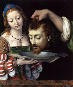 Andrea Solario - Salome with the Head of Saint John the Baptist    Solario (c.1465 - 1524) worked in Milan after 1493, and in 1507 was invited to France, where he decorated a chapel at Château Gaillon for Cardinal Georges d'Amboise, Archbishop of Rouen.