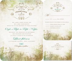 Green Forest Wedding Invitations For Summer