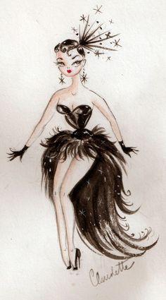 "girl-o-matic: "" Illustration by Miss Fluff, Claudette Barjoud "" Miss Fluff, Cartoon Kunst, Cartoon Art, Cartoon Drawings, Dibujos Pin Up, Black Feathers, Kawaii, Pin Up Art, Sketch Pad"