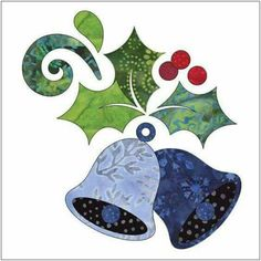 Deck the Halls - Block - Applique By Patricia E. Ritter Laser-cut fabric applique elements backed with Steam-A-Seam 2 Christmas Applique, Christmas Sewing, Christmas Embroidery, Christmas Fabric, Christmas Crafts, Christmas Towels, Applique Templates, Applique Patterns, Quilt Patterns