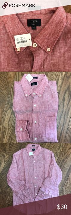 J. CREW L/Sleeve Button Down! Linen-Slim Fit   M J. CREW Long Sleeve Button Down Shirt! Linen. Pinkish-Raspberry Color. Brand New With Tags! MSRP: $59.50! Nice Shirt! Dress or Casual. Men's Size M - Slim Fit Armpit to armpit: 21 inches  Top of back collar to bottom of shirt: 31 inches  Top shoulder hem to tip of sleeve cuff: 25 1/4 inches J. Crew Shirts Casual Button Down Shirts