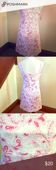 """NWT Vintage Ralph Lauren Polo Jeans Paisley Dress Pink and white paisley, spaghetti strap sundress. Roughly 33"""" in length, size 8. 97% cotton, 3% spandex, machine washable. Adjustable straps, long back zip. Polo by Ralph Lauren Dresses"""
