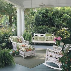 Beautiful porch with decorated porch swing