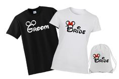 Personalize Disney Mickey and Minnie Bride and Groom Family Vacation T shirts, Wedding T shirt, Disney Bride, Disney Shirt, Disneyland Shirt by WBBlvd on Etsy https://www.etsy.com/listing/226613545/personalize-disney-mickey-and-minnie