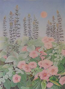 """Pink Sunshine and Flowers"" by Mary K Hyatt Colored Pencil ~ 22"" x 16"" Pink flowers in an outdoor garden."