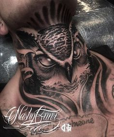 Tattoo on the neck: Inspirations and care tips, . - Neck Tattoo: Inspirations and Care Tips, # Inspirations Best Picture F - Owl Neck Tattoo, Full Neck Tattoos, Side Neck Tattoo, Neck Tattoo For Guys, Tattoos For Guys, Wolf Tattoos, Finger Tattoos, Animal Tattoos, Black Tattoos