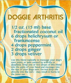 Doggie Arthritis help from essential oils