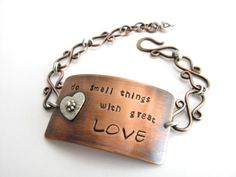 Copper Inspirational Cufflet Bracelet Do Small Things by BooBeads