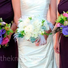 Feather accents in bouquet