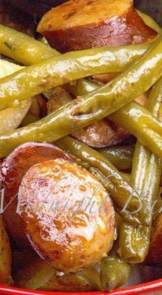 Kielbasa Green Bean and Potato Casserole - Recipes - Sausage Recipes Bean Recipes, Pork Recipes, Slow Cooker Recipes, Cooking Recipes, Potato Recipes, Crockpot Recipes, Casserole Dishes, Casserole Recipes, Bean Casserole