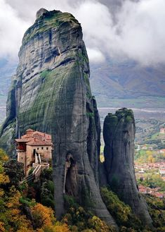 The monastic community of Meteora that rests atop awe-inspiring peaks that ascend to the sky hovering over the town of Kalambaka.  Believed to have been inhabited by hermits as early as the 11th century, the rock formations were chosen as the location of a series of 21 gravity-defying Byzantine monasteries.