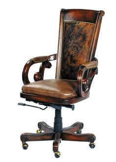 rustic office chair. Wood, Leather, \u0026 Cowhide Computer Office Chair Rustic O
