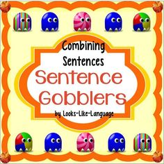 Combine Sentences in a race to beat the Sentence Gobblers! Task cards and game board. $