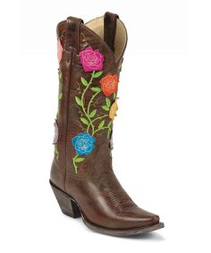 Brown Flower Classic Western Molten Tawny Cowboy Boot - Women by Justin Boots on #zulily