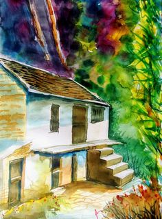 Village Canopy ... Water color Painting