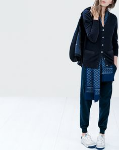 OCT '14 Style Guide: J.Crew women's boyfriend cashmere cardigan, drapey sweatpant, and silk tie scarf.