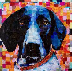"Blue Pointer. Collage on Canvas 30x 30"" 2014 mydogcollage.com $2500"