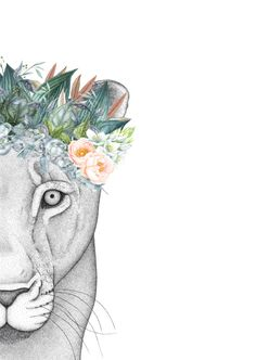Linda the Lioness with Foliage Crown – Dots by Donna Art Sketches, Art Drawings, Lioness Tattoo, Crown Drawing, Lion Painting, Watercolor Images, Handmade Frames, Couple Tattoos, Drawing Techniques