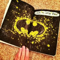 Wreck this journal, colour the entire page, batman themed...♥