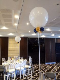 """17"""" white balloons with midnight blue and gold collar - christening at Doltone House Sylvania"""