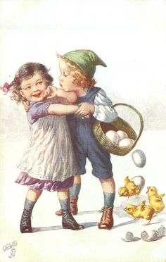 boy carrying & spilling basket white eggs & attempting to kiss protesting girl left, chicks around - TuckDB Postcards Vintage Halloween Cards, Vintage Cards, Vintage Pictures, Vintage Images, Easter Art, Wow Art, Vintage Easter, Vintage Flowers, Vintage Children