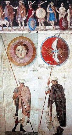 Dipinti di antichi soldati, armi e armamenti macedoni, dalla tomba di Agios Athanasios, Salonicco in Grecia, IV secolo aC.