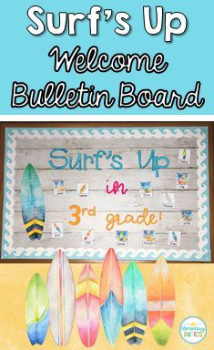 Be back to school ready with the surfing themed welcome bulletin board! Surfing Bulletin Boards, Up Bulletin Board, Welcome Bulletin Boards, New Classroom, Classroom Themes, Beginning Of The School Year, Back To School, School Stuff, Ocean Themes
