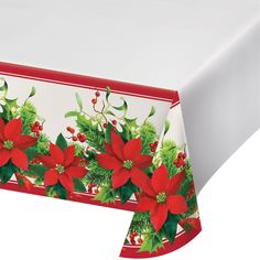 Holiday Poinsettia Plastic Tablecloth, X Christmas Ships, Christmas Holidays, Christmas Central, Red Fork, Plastic Tablecloth, Tablecloths, Christmas Party Decorations, Party Tableware