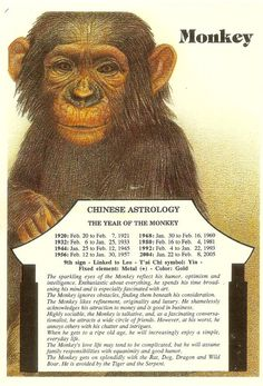 Zodiac Unlimited Chinese astrology postcard: Monkey