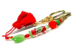 Scissor Fob Beaded Orange and Green Quilting by TJBdesigns on Etsy, $18.00