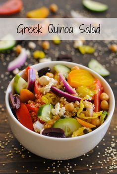 Greek Quinoa Salad - a protein packed salad that uses quinoa in place of lettuce! Perfect for make-ahead lunches or dinner. | foxeslovelemons.com