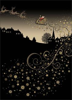 Rooftop Sleigh - christmas card design by Jane Crowther, Bug Art