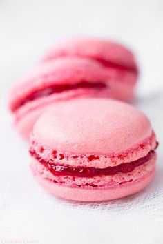 Raspberry Coconut Macarons (look for link to original recipe site for tips)