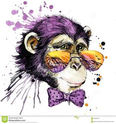 Cool Monkey T-shirt Graphics. Monkey Illustration With Splash ...