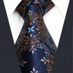 PAISLEY U20 Mens Ties Navy Multicolor Floral Silk Handmade Fashion Classic