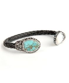 Turquoise & Pearl Leather Cuff by Zulily