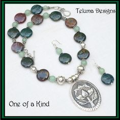 http://www.sellergroup.com/shop/TelumaDesigns Necklace with large Sterling Silver Waratah motif Pendant.Indian Agate Gemstones, Sterling Silver Beads and Clasp.Exclusive Jewellery. OOAK (Code316N)