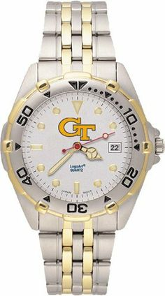Georgia Tech Yellowjackets Men's All Star Watch Stainless Steel Bracelet by Logo Art. $69.99. Case is 1 5/8-Inch wide, dial diameter 1-Inch. Officially licensed two-tone team logo watch. Limited lifetime warranty. Brushed chrome finish brass case, two-tone roating top ring and screw-down back with two-tone stainless steel bracelet. Miyota quartz movement (377 battery). NCAA Georgia Tech Yellowjackets Men's All Star Watch Stainless Steel Bracelet